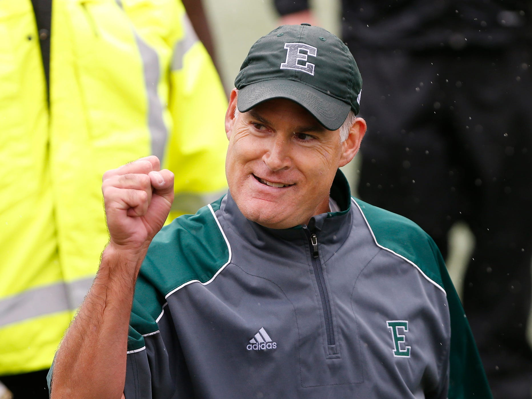 Eastern Michigan head coach Chris Creighton pumps his fist after the Eagles defeated Purdue 20-19 Saturday, September 8, 2018, in West Lafayette.