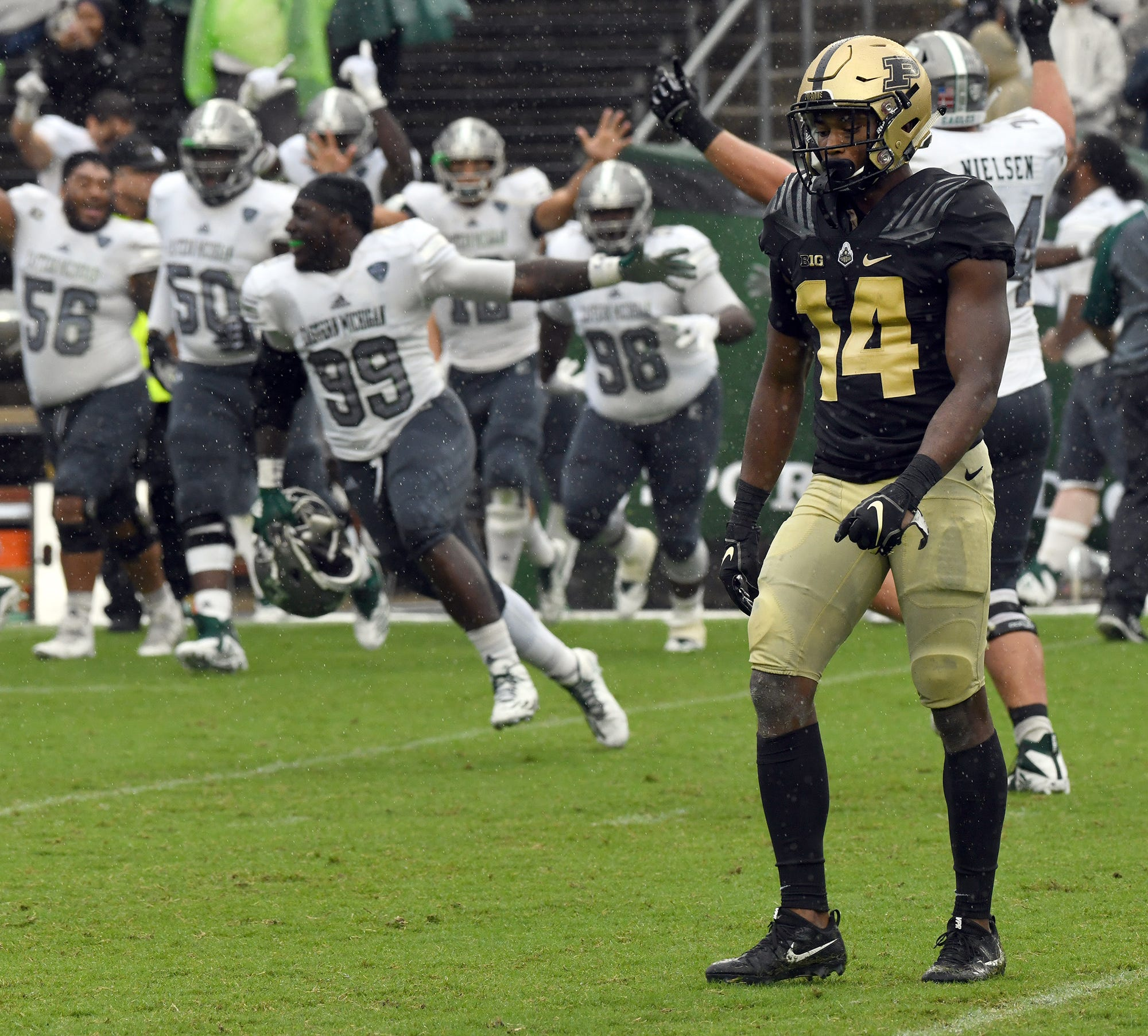 Purdue's Antonio Blackmon reacts to the game winning field goal by Eastern Michigan as time expired in West Lafayette on September 8, 2018. Purdue lost 20-19.