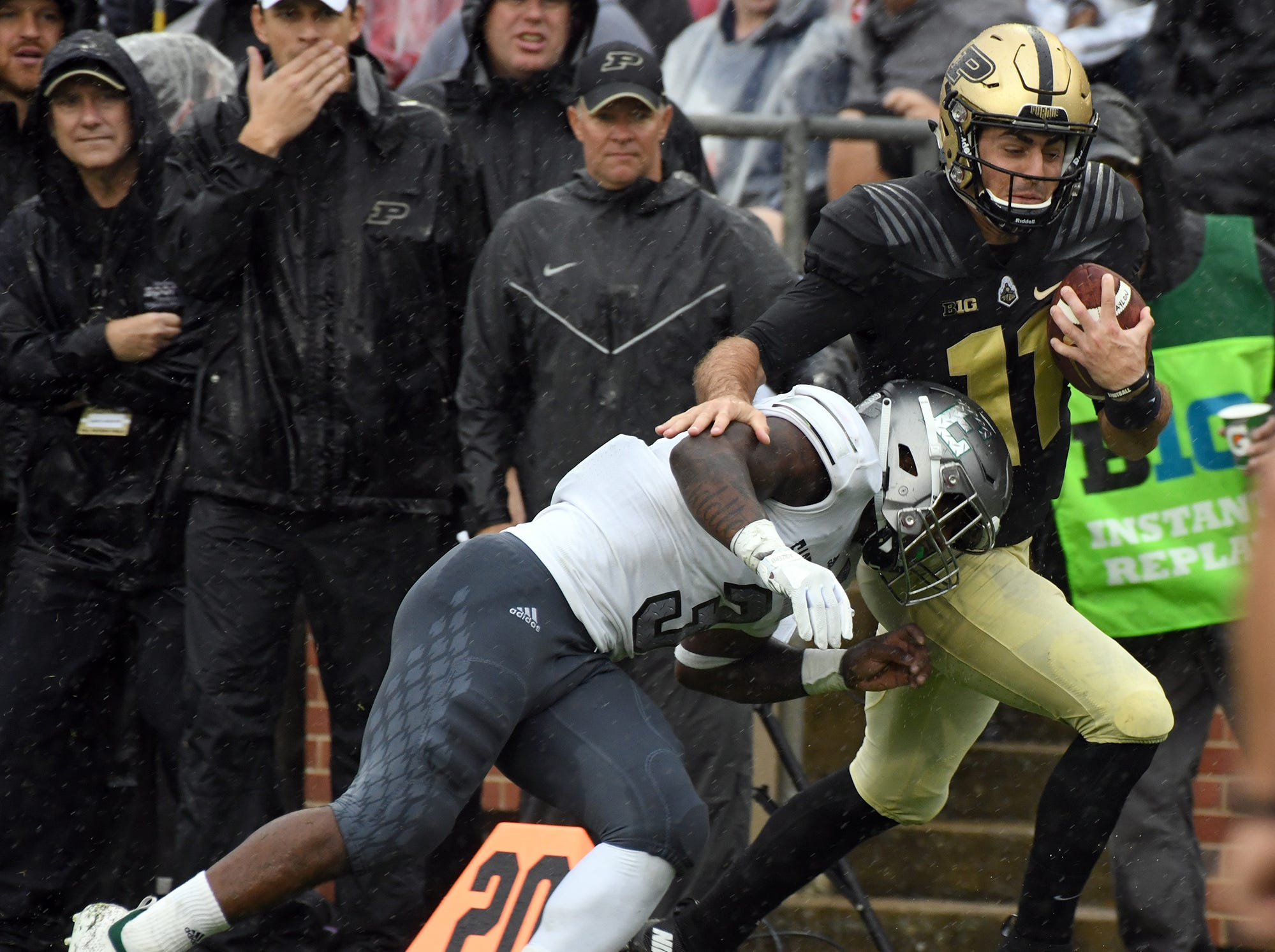 Purdue's David Blough runs for yardage against Eastern Michigan in West Lafayette on September 8, 2018. Purdue lost 20-19.