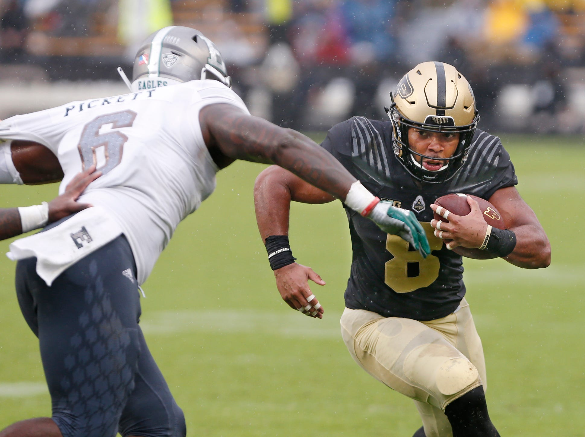 Markell Jones of Purdue with a first half carry against Eastern Michigan Saturday, September 8, 2018, in West Lafayette. Purdue fell to Eastern Michigan 20-19.