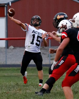 Amanda-Clearcreek junior quarterback Peyton Madison gets set to throw a pass against Liberty Union in Week 3 game. The Aces won 34-20 to improve to 3-0 on the season.