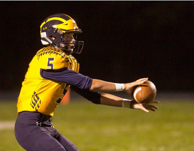 Hartland quarterback Holden D'Arcy threw for four touchdowns and two for two others in a rout of Plymouth.