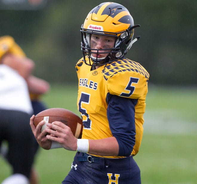 Hartland quarterback Holden D'Arcy threw for three touchdowns and ran for two against Novi.