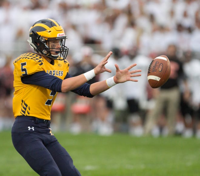 Hartland quarterback Holden D'Arcy threw two touchdown passes in a loss to Plymouth.