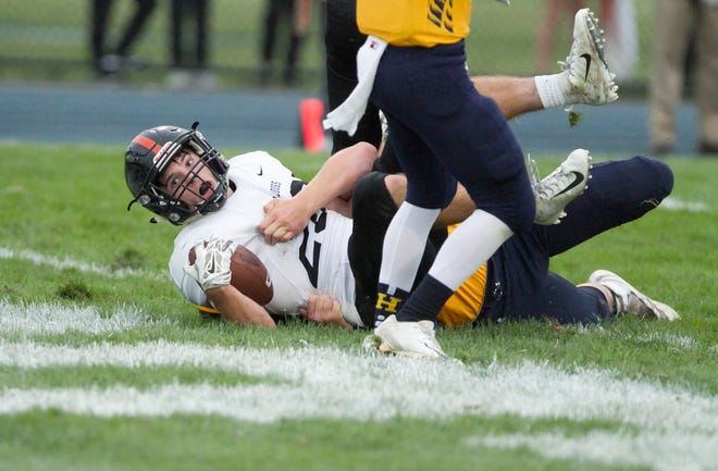 Chris Seguin gets Brighton on the scoreboard with a 1-yard run in a 28-10 victory at Hartland on Friday, Sept. 7, 2018.