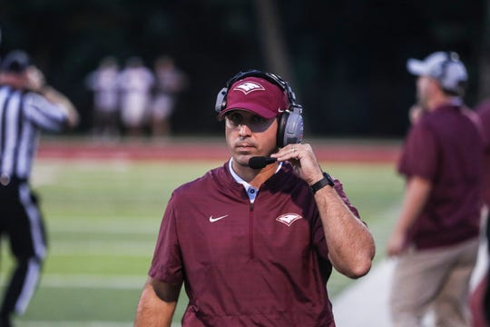 September 07 2018 - Evangelical Christian School's head coach Jonas Rodriguez during Friday night's game versus St. George's Independent School at Evangelical Christian School.