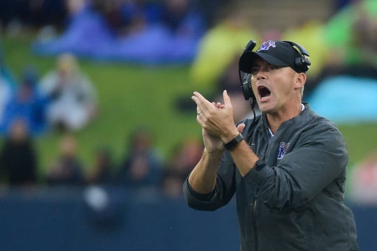 Memphis Tigers head coach Mike Norvell reacts after a playing the first quarter against the Navy Midshipmen at Navy-Marine Corps Memorial Stadium.