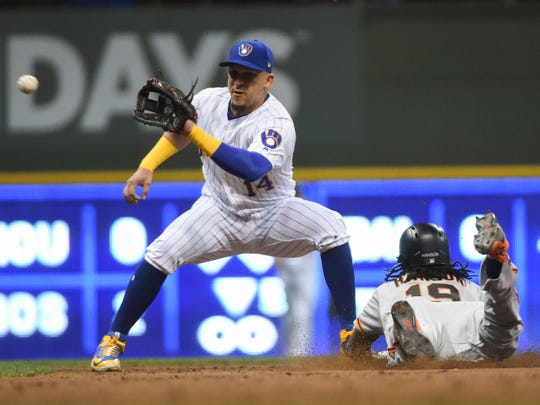 Hernan Perez will see plenty of action at second base for the Brewers this season, but due to his versatility, manager Craig Counsell will use him all over the field.