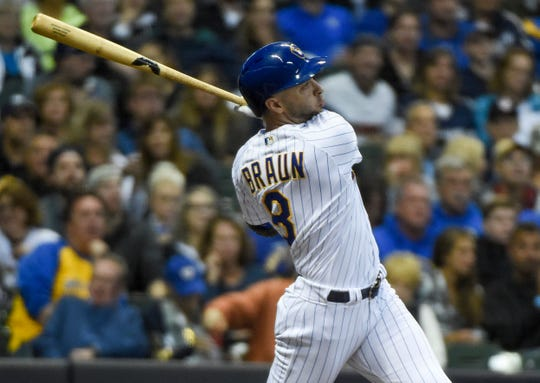 Ryan Braun watches his two-run homer in the first inning.