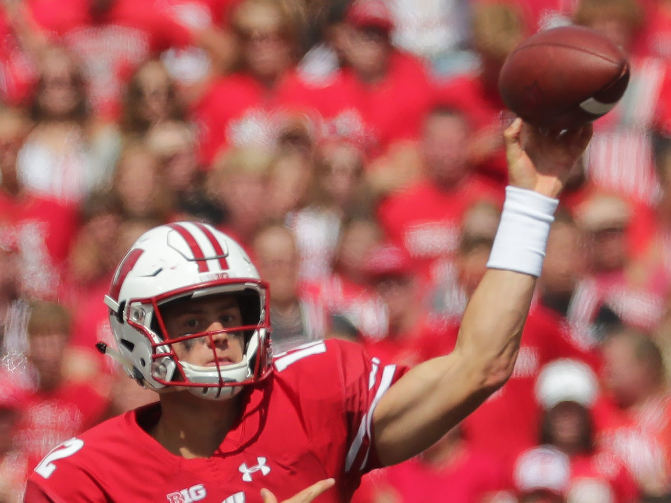 Wisconsin quarterback Alex Hornibrook (throws a 31-yard pass to wide receiver A.J. Taylor.