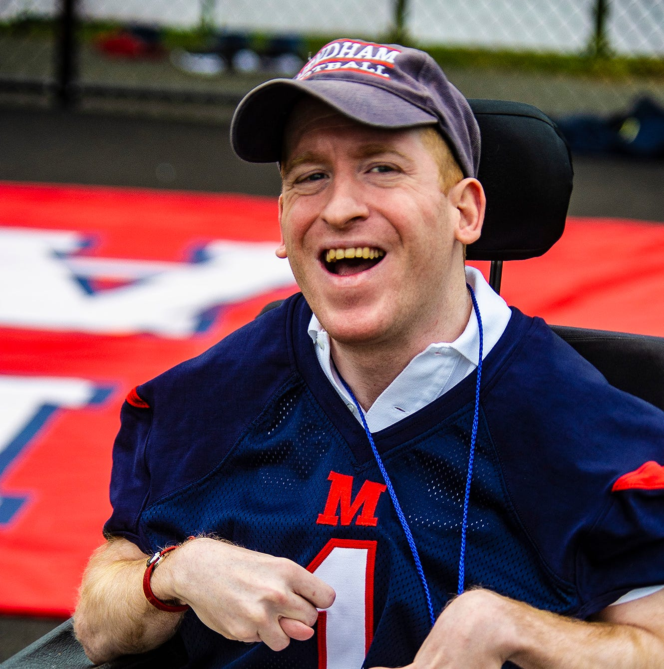 Mendham superfan Geoffrey d'Aries nears his 200th consecutive game at the West Morris Central at Mendham rivalry football game at Mendham High School in Mendham Borough, September 8, 2018.