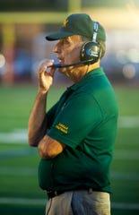 Morris Knolls head coach Bill Regan at the Morris Knolls at Morris Hills rivalry football game at Morris Hills in Rockaway Borough, September 7, 2018.