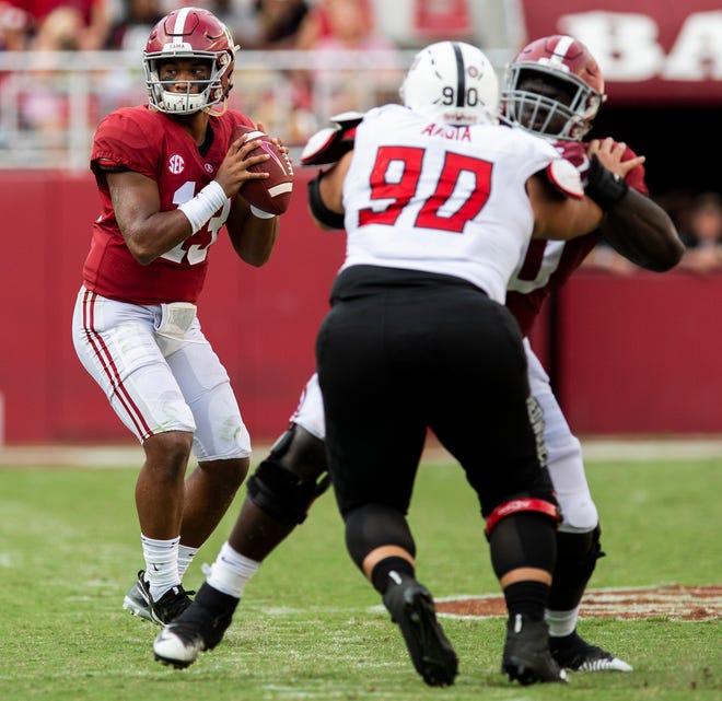 Alabama quarterback Tua Tagovailoa (13) throws against Arkansas State in second half action at Bryant Denny Stadium in Tuscaloosa, Ala., on Saturday September 8, 2018.