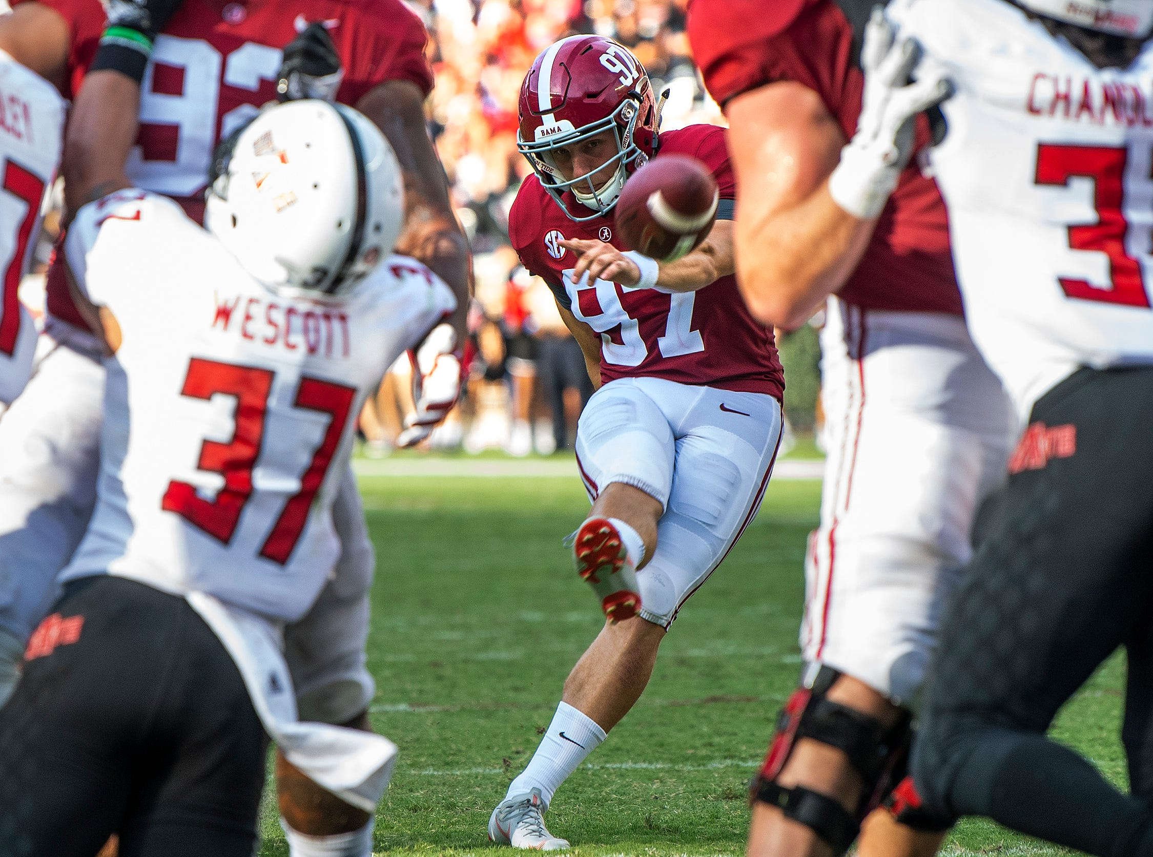 Alabama kicker Joseph Bulovas (97) kicks an extra point against Arkansas State in second half action at Bryant Denny Stadium in Tuscaloosa, Ala., on Saturday September 8, 2018.