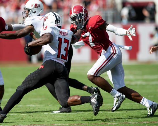 Alabama defensive back Trevon Diggs (7) chases Arkansas State wide receiver Kirk Merritt (13 In first half action at Bryant Denny Stadium in Tuscaloosa, Ala., on Saturday September 8, 2018.