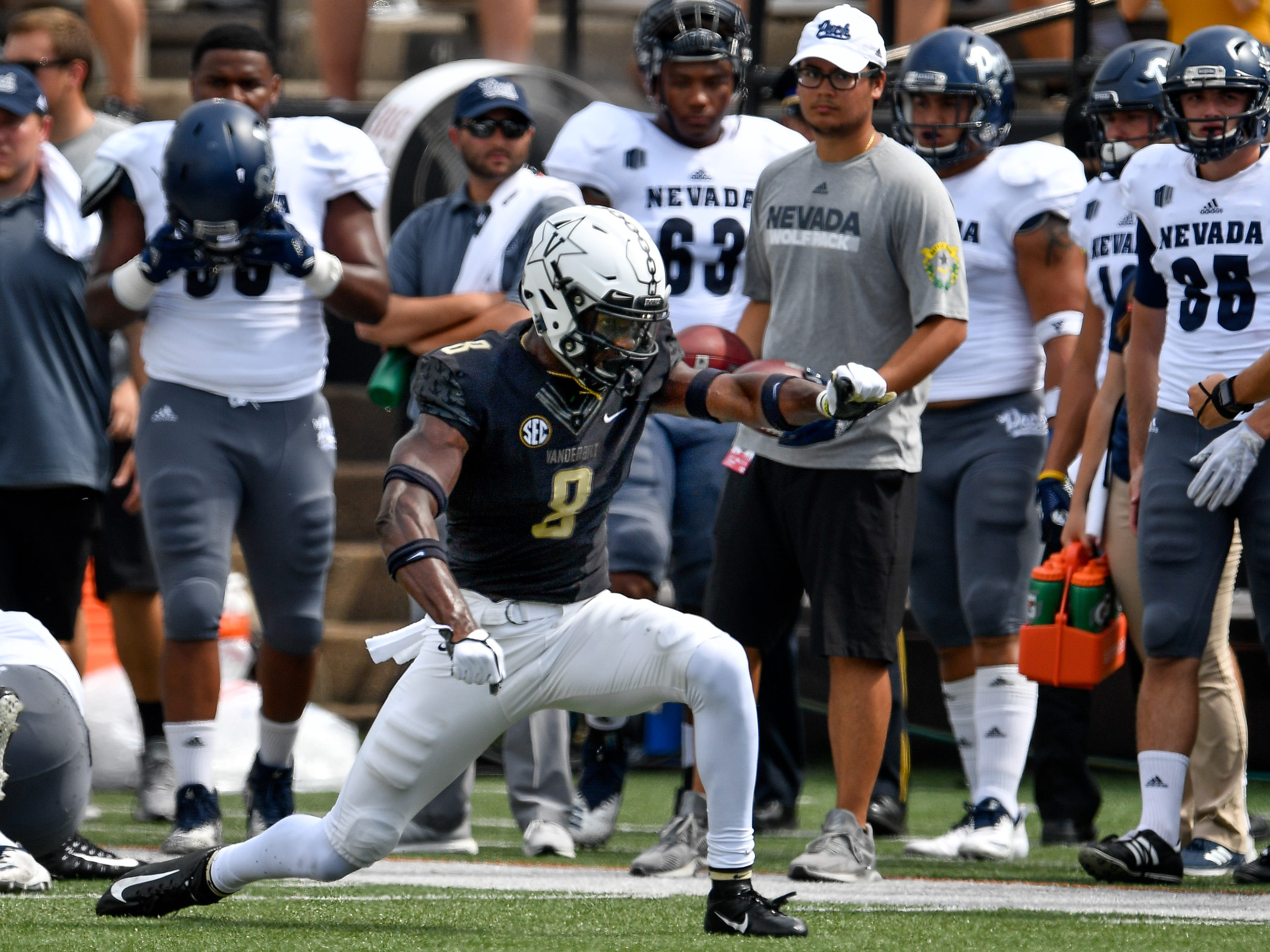 Vanderbilt cornerback Joejuan Williams (8) celebrates a Nevada fourth down during the first half at Vanderbilt University in Nashville, Tenn., Saturday, Sept. 8, 2018.