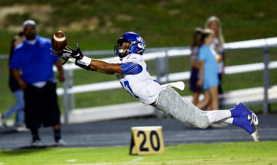 Waverly's JD Dixon dives for the ball as he attempts to make an interception during their game against Fairview Friday, Sept. 7, 2018, in Fairview, Tenn.