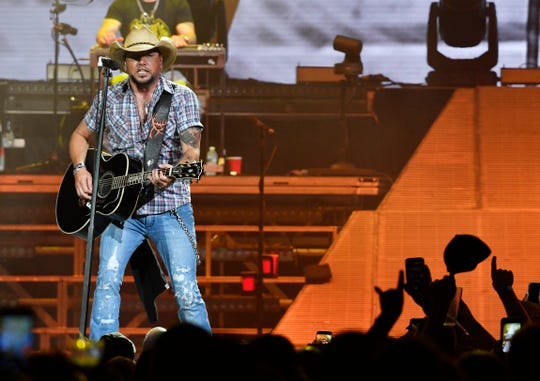 Jason Aldean performs as his High Noon Neon Tour plays Bridgestone Arena