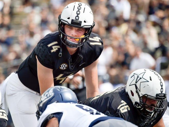 Vanderbilt quarterback Kyle Shurmur (14) prepares for a play against Nevada during the first half at Vanderbilt University in Nashville, Tenn., Saturday, Sept. 8, 2018.