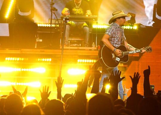 Jason Aldean performs as his High Noon Neon Tour plays Bridgestone Arena Friday Sept. 7, 2018, in Nashville, Tenn.