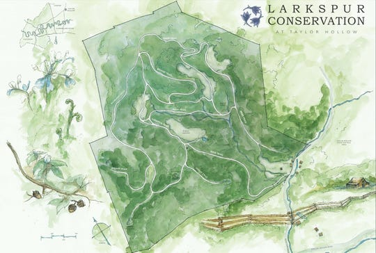 A map of Larkspur Conservation at Taylor Hollow. It is a natural burial ground on 112 acres of protected land in Sumner County. The Nashville-based nonprofit that oversees the project promotes natural burial by creating nature preserves where the burials can occur.