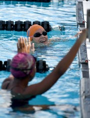Thirteen area schools participate in the Shark Relays at the Norris Pool in Naples, Saturday, Sept. 8, 2018.