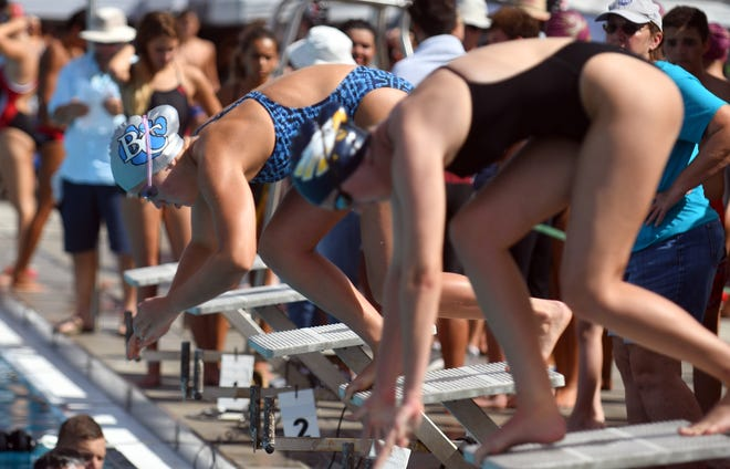 Thirteen area schools participate in the Shark Relays at the Norris Pool, Naples, Saturday, Sept. 8, 2018.