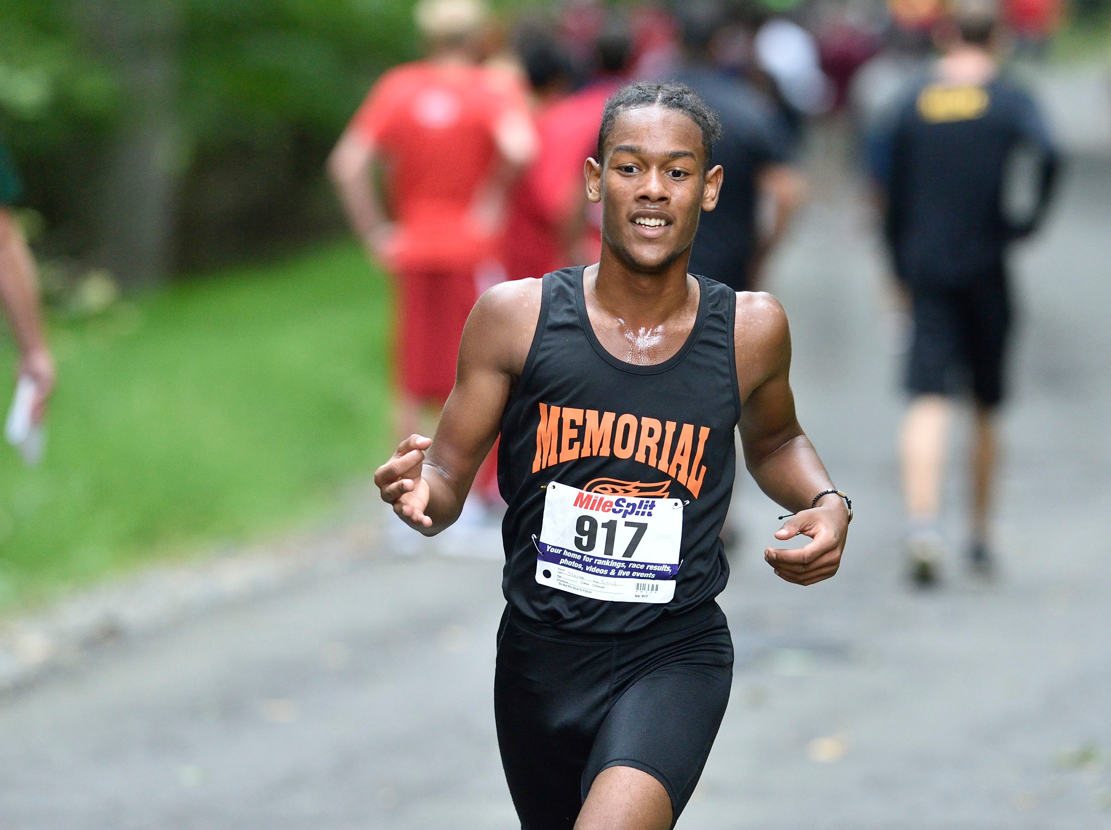 Steven Ventura of  Memorial HS W. Ny competes in the Boys Varsity A cross country race at Darlington County Park in Mahwah.