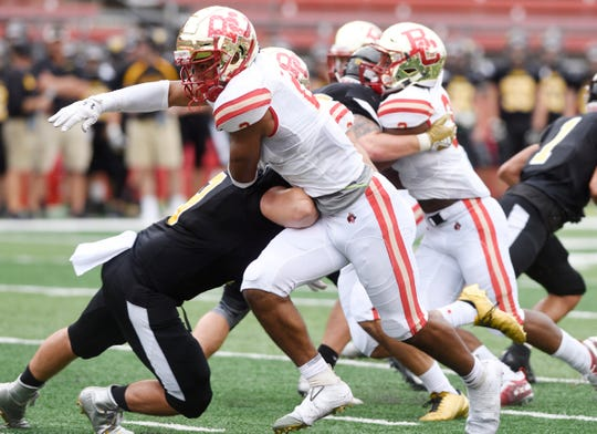 Bergen Catholic vs. Archbishop Wood at Rutgers' High Point Solutions Stadium on Saturday, September 8, 2018. BC #2 Aeneas DiCosmo in the second quarter.