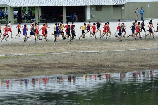 Boys compete in the Varsity A cross country race at Darlington County Park in Mahwah on Sept. 8, 2018.
