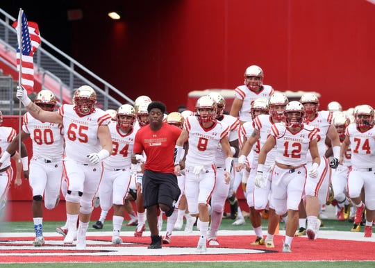 Bergen Catholic vs. Archbishop Wood at Rutgers' High Point Solutions Stadium on Saturday, September 8, 2018. Bergen Catholic takes the field before the start of the game.