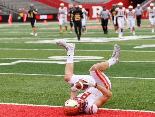 Bergen Catholic vs. Archbishop Wood at Rutgers' High Point Solutions Stadium on Saturday, September 8, 2018. BC #8 Garrett Cody makes a catch in the second quarter.