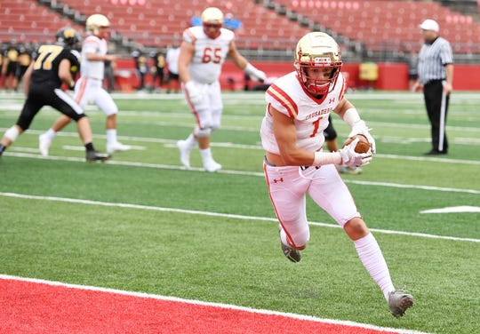 Bergen Catholic vs. Archbishop Wood at Rutgers' High Point Solutions Stadium on Saturday, September 8, 2018. BC #1 Pierson Tobia runs into the end zone for a  two-point conversion in the second quarter.