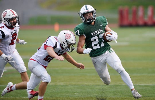 Bergenfield at Ramapo on Friday, September 7, 2018. R #27 Max Baker in the first quarter.