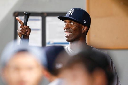 Sep 7, 2018; Seattle, WA, USA; New York Yankees right fielder Andrew McCutchen (26) walks to the clubhouse following a 4-0 victory against the Seattle Mariners at Safeco Field.