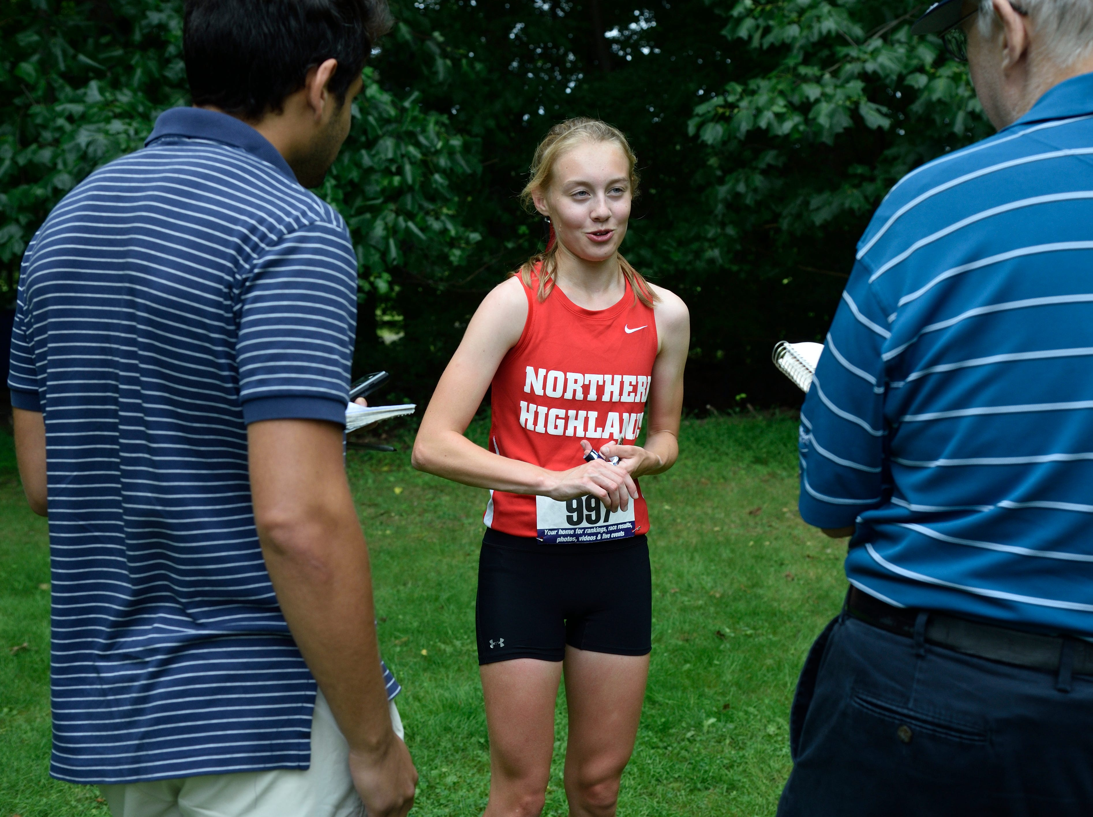 Daisy Liljegren of Northern Highlands HS won the girls varsity A cross country race at Darlington County Park in Mahwah.