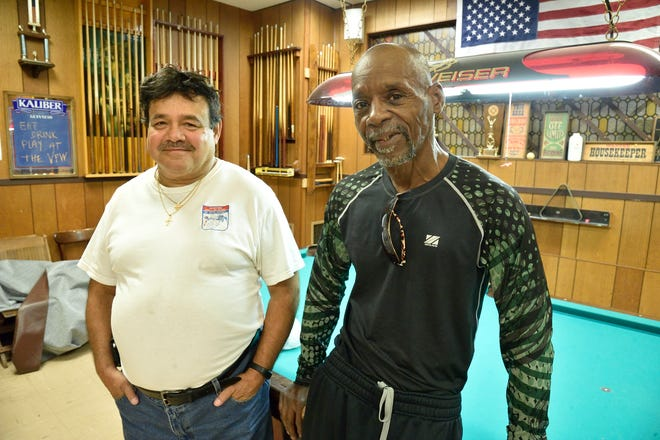 """US Marine veterans Eusebio """"Junior"""" Camacho, L, and Diamond Artison, both of Hackensack, were honored for their service at the launch of the Care For The Brave organization in a ceremony held at the VFW in Bogota."""