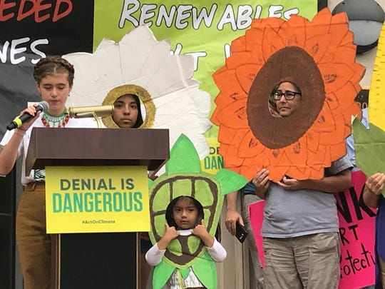 Madison Junior School student Claudia Mejia Sydenstricker addressed the audience at Rise for Climate, Jobs, and Justice rally and festival in Morristown on Sept. 8.