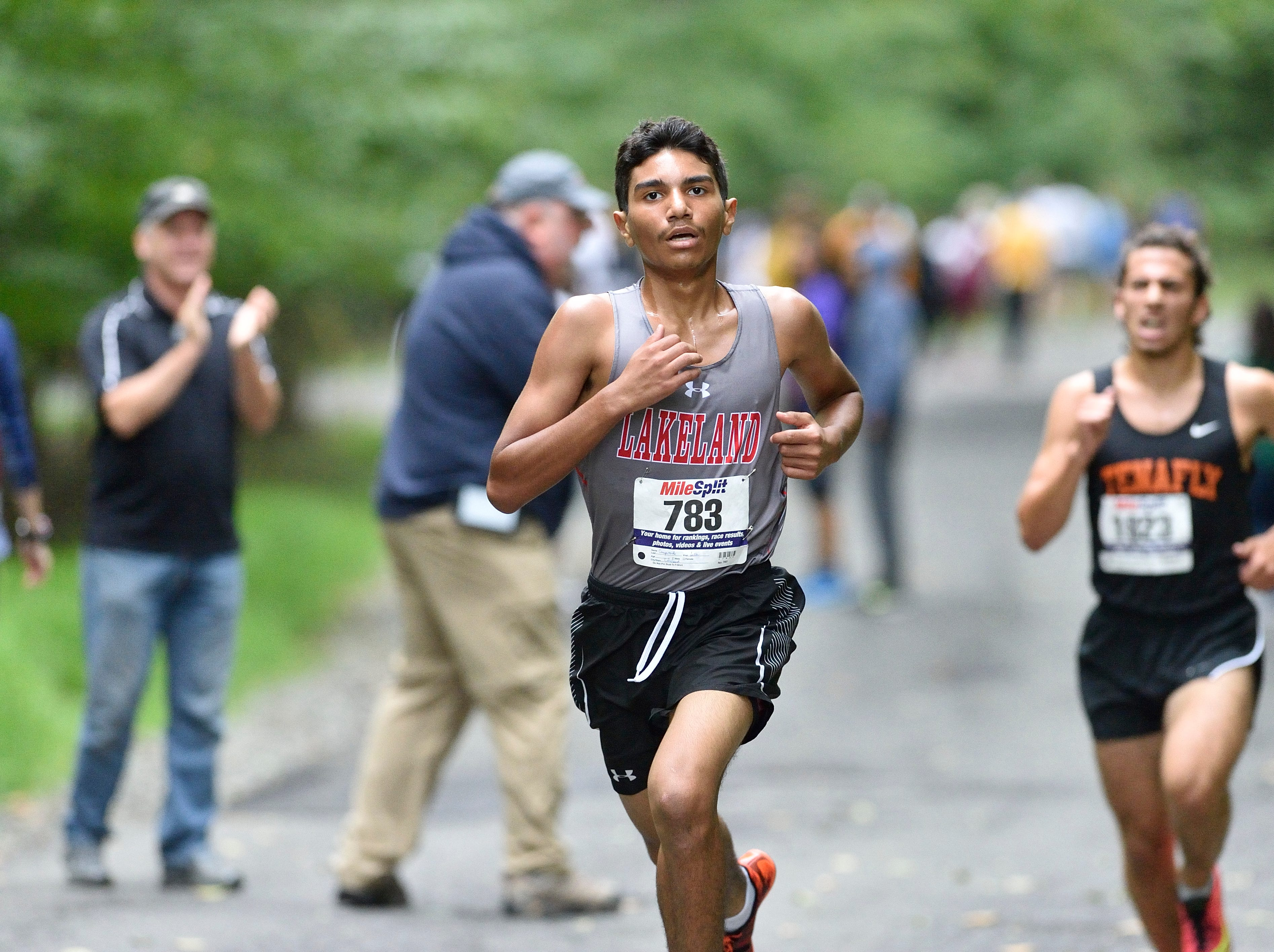 Jesse Campoverde of Lakeland Reg HS competes in the boys varsity B cross country race at Darlington County Park in Mahwah.