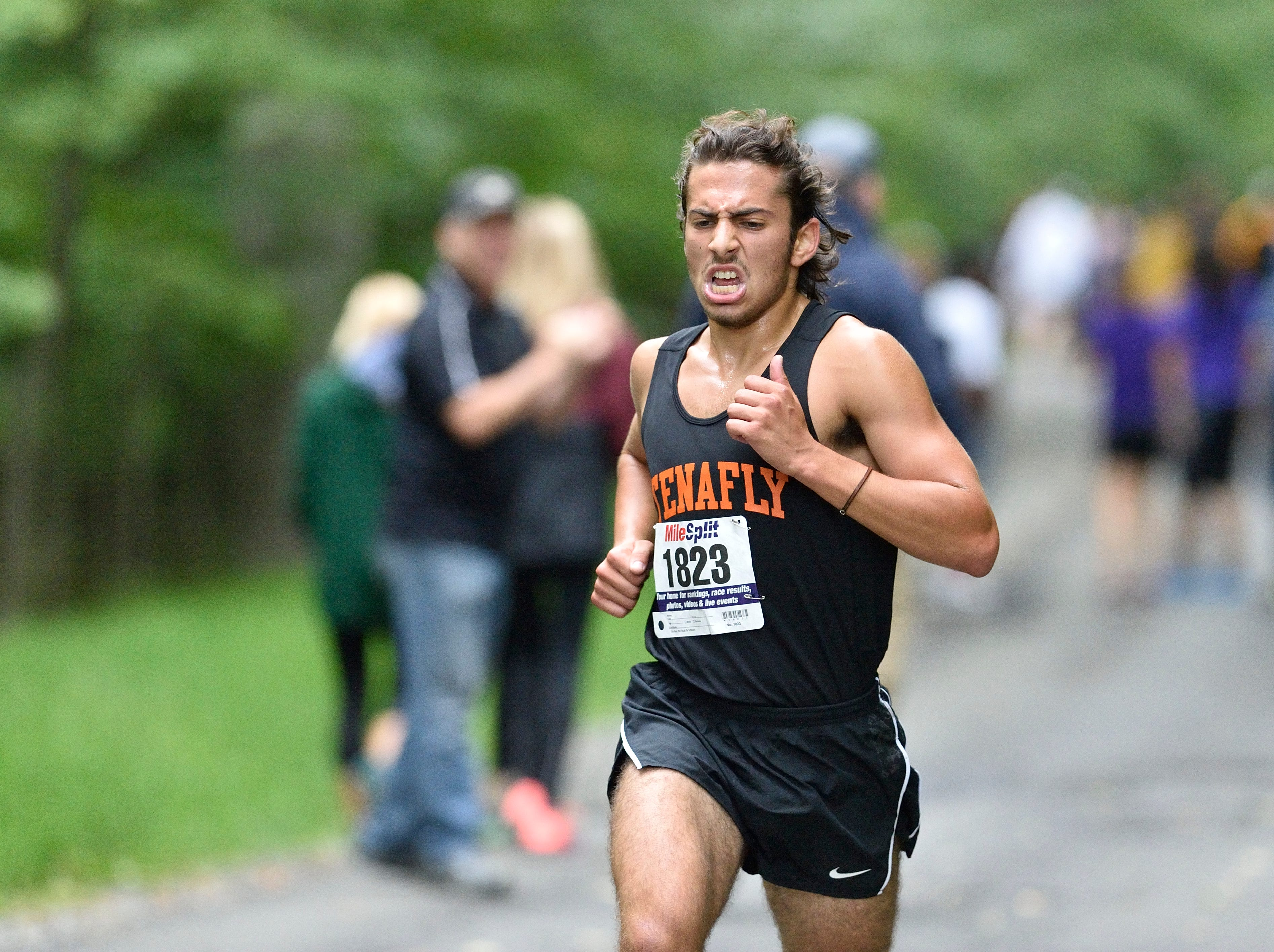 Carmel Ohring of Tenafly HS competes in the boys varsity B cross country race at Darlington County Park in Mahwah.