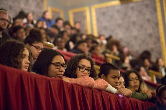 "Students from three Paterson schools — Eastside, JFK and Panther Academy — listen to cast members from the Broadway smash ""Hamilton"" last year. Paterson's schools remain among the most racially segregated in the state."