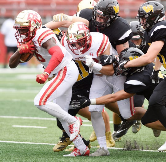Bergen Catholic vs. Archbishop Wood at Rutgers' High Point Solutions Stadium on Saturday, September 8, 2018. (left) BC #6 Rahmir Johnson in the second quarter.