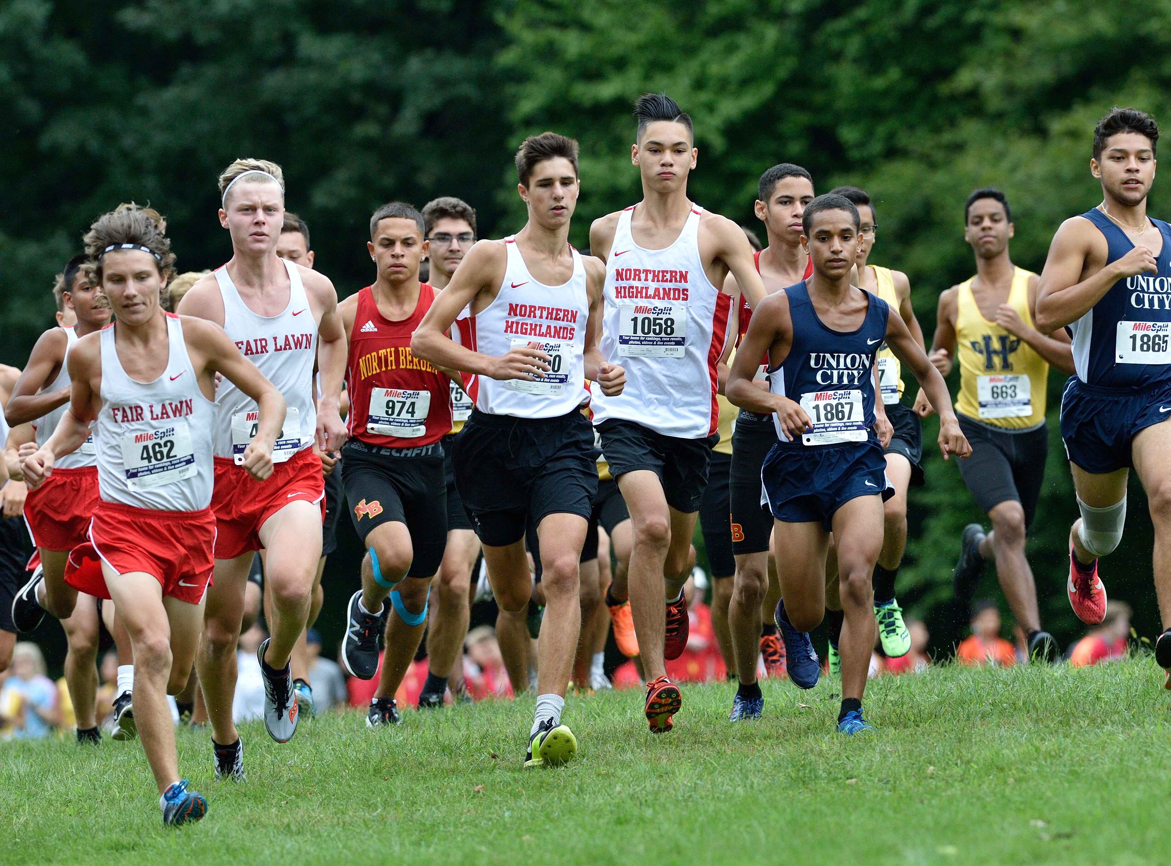 The start of the Boys Varsity A cross country race at Darlington County Park in Mahwah.