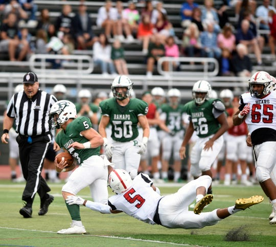 Bergenfield at Ramapo on Friday, September 7, 2018. R #5 AJ Wingfield runs for a touchdown in the first quarter.