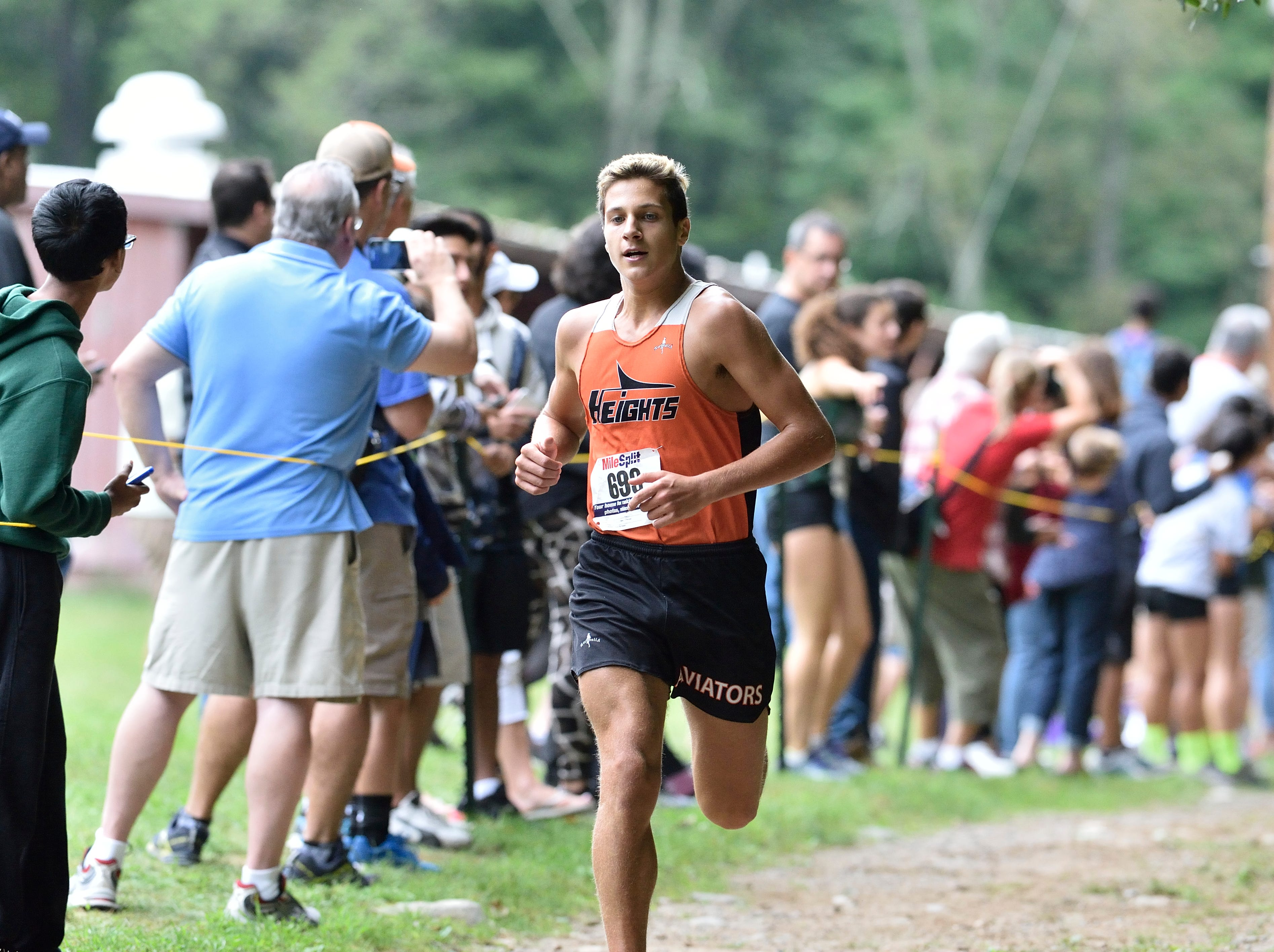Jeremy Bailey of Hasbrouck Heights HS competes in the boys varsity C cross country race at Darlington County Park in Mahwah.