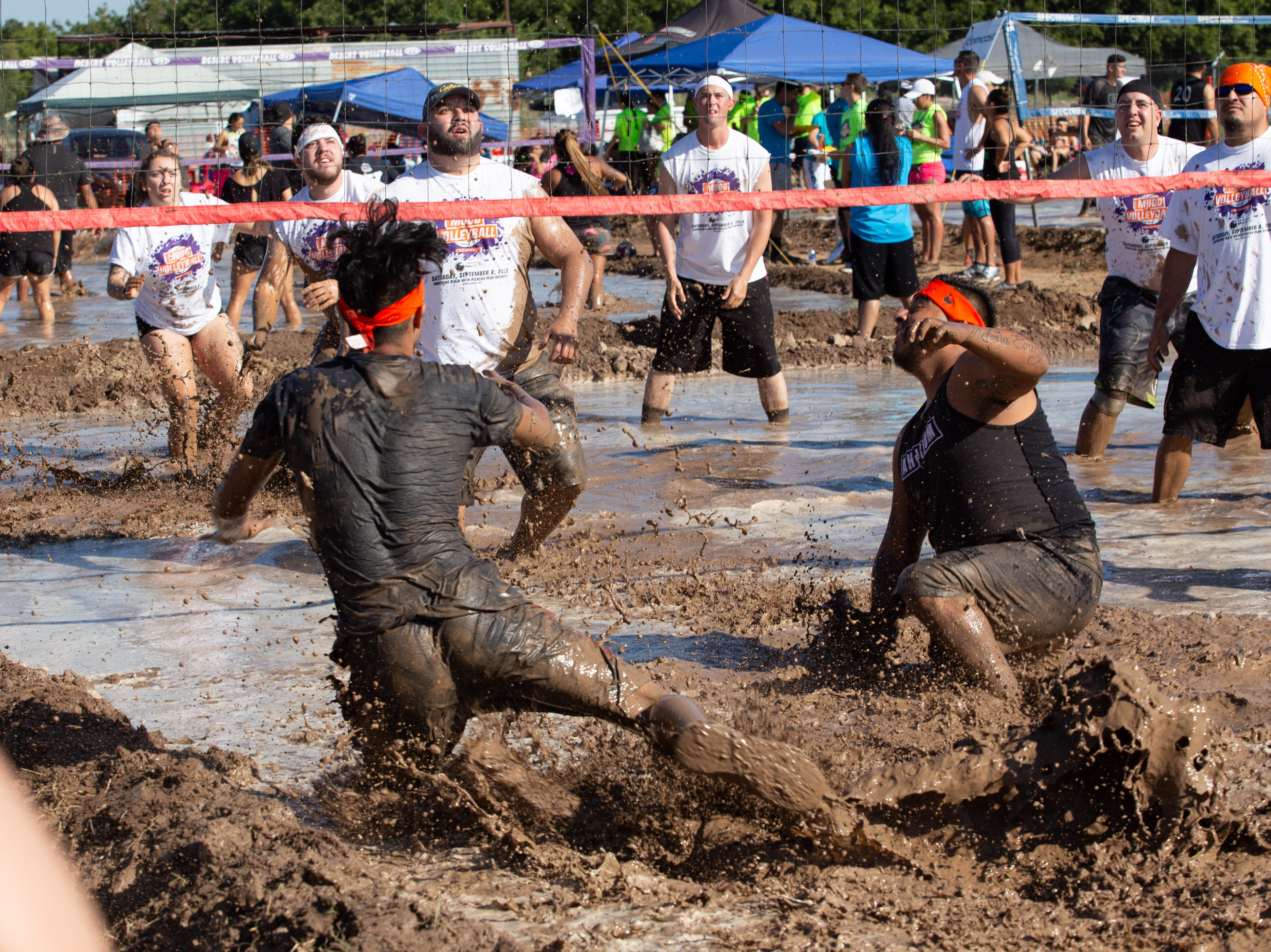 Mud was flying during the 9th Annual Mudd Volleyball tournament on September 8, 2018.