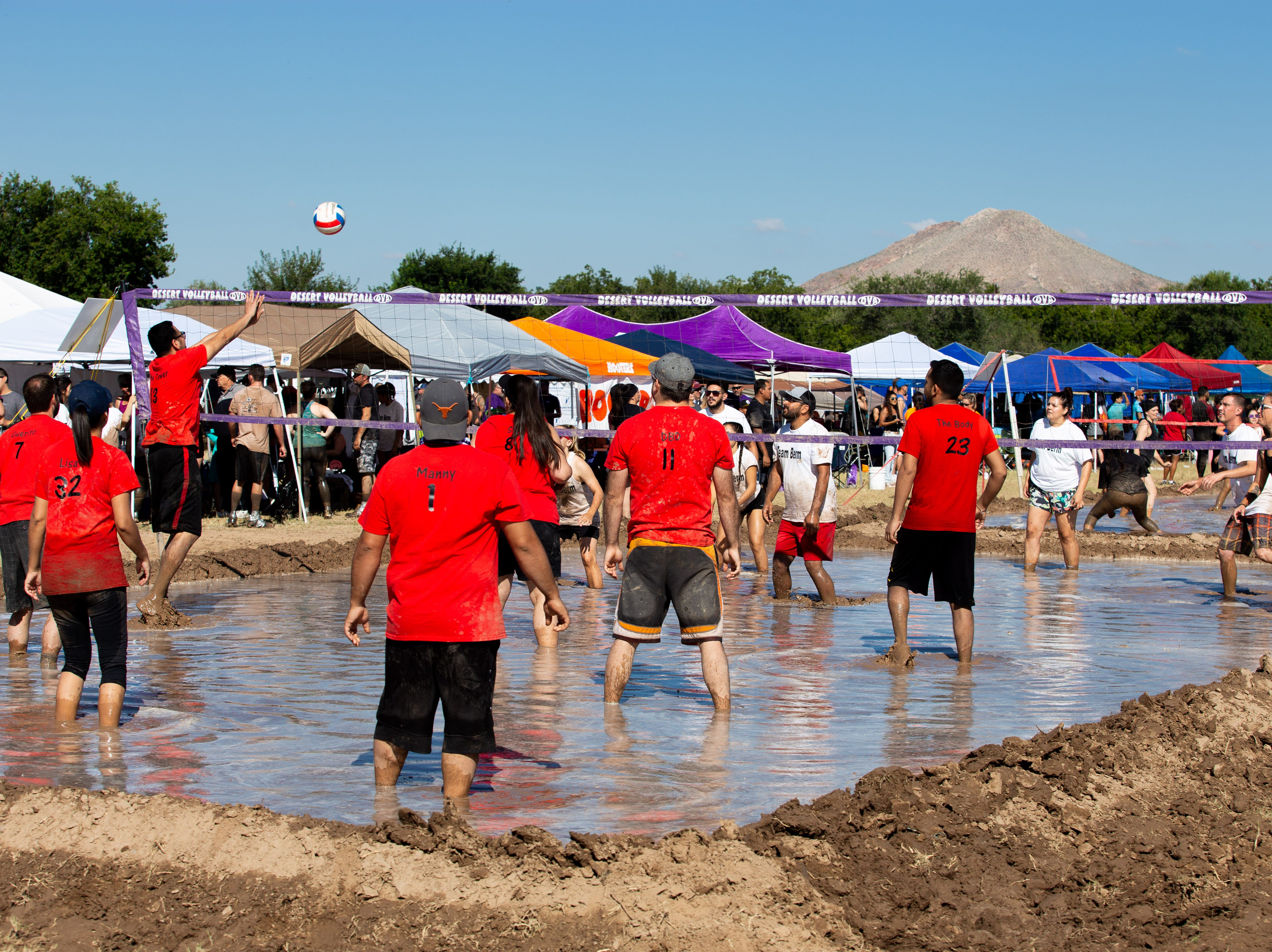 Enthusiastic players in colorful uniforms participated in the 9th Annual Mudd Volleyball tournament on September 8, 2018.