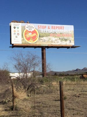 Billboards such as this remind the public to stop illegal dumping, while the App gives them the tool to report illegal dump sites they come across when recreating on BLM public land.