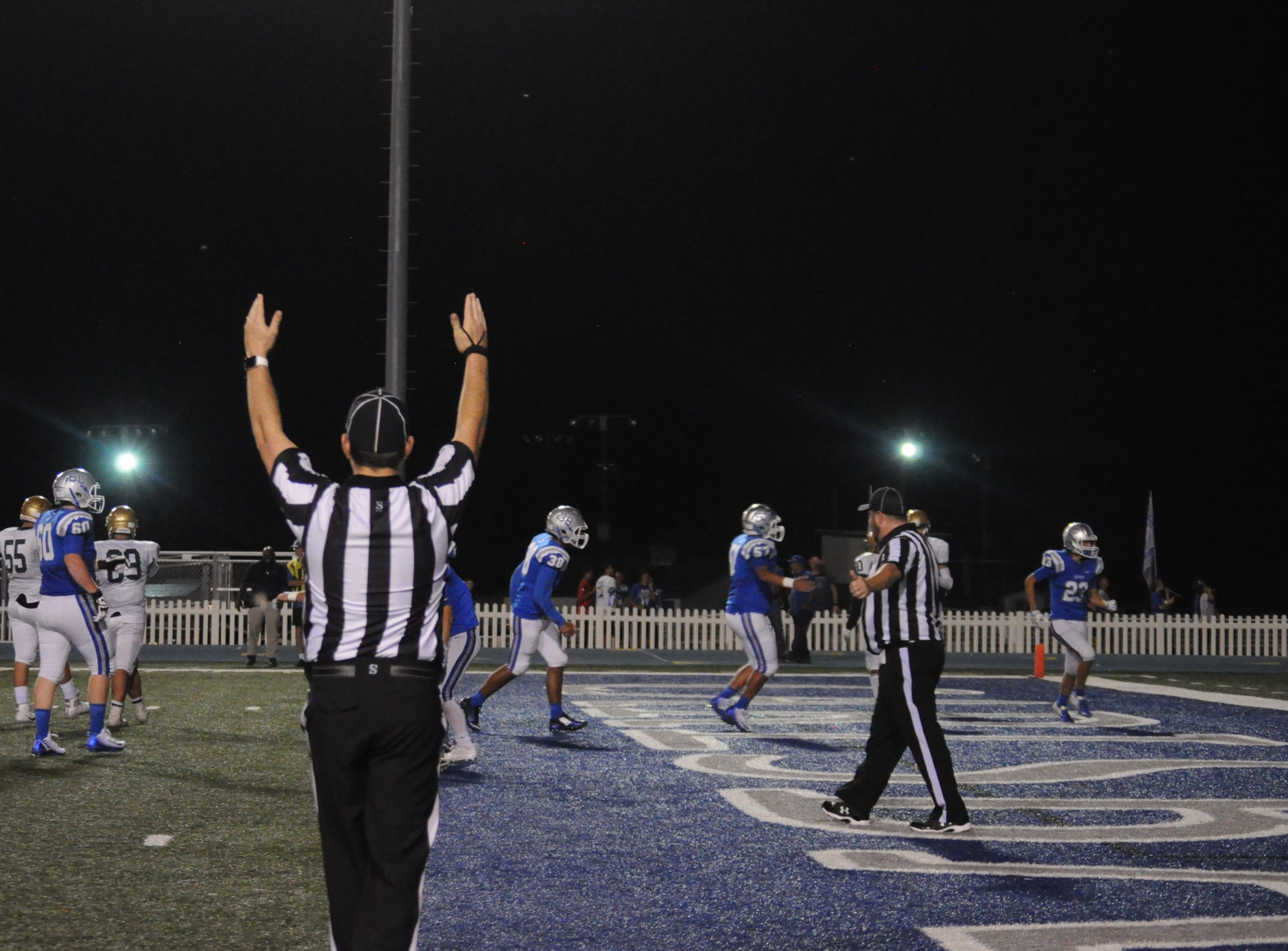 A Cavemen touchdown is called in the third quarter of the Cavemen vs. Jaguars game Sep. 7.