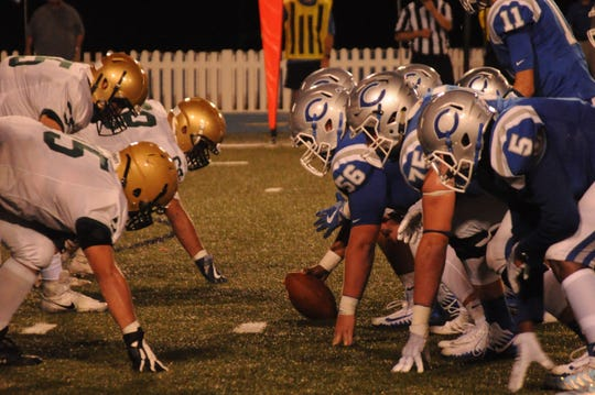 The Carlsbad Cavemen offense lines up against the Atrisco Heritage Jaguars on Sept. 7, 2018. The Cavemen travel to Albuquerque on Saturday and look for another big win vs. the Jaguars. Last year the Cavemen won, 51-0.